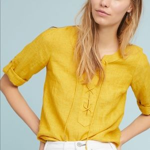 Anthropologie Maeve Linen Lace-Up Blouse